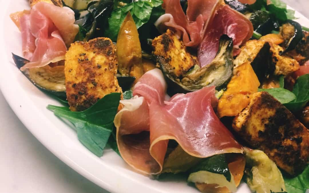 Paneer and prosciutto salad