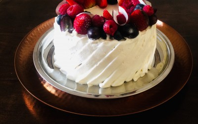 Yoghurt cake with cream and fresh berries